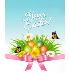 happy easter background easter eggs in green gras vector image