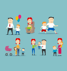 happy family set with parents and children vector image
