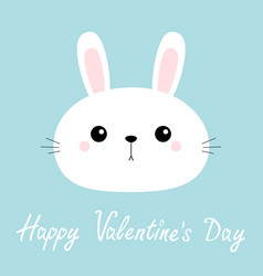 happy valentines day rabbit bunny head face round vector image