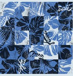 hawaiian hibiscus flowers vintage patchwork vector image