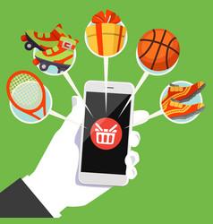 human hand smart phone shop basket goods icon vector image