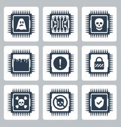 Icon set cpu critical exploit vulnerabilities vector
