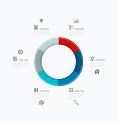 Infographics template six options with circle vector