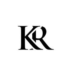 initial kr alphabet logo design template vector image