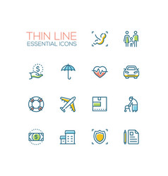 insurance - modern single thin line icons vector image