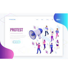 isometric crowd people protesters male and vector image