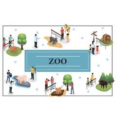isometric zoo concept vector image