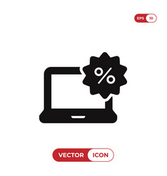 laptop icon with percent sign vector image