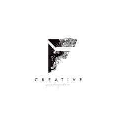 Letter f logo design icon with artistic grunge vector