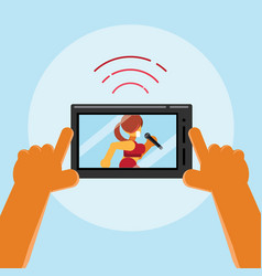 live streaming concert on mobile phone vector image