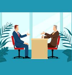 man being interviewed recruiter vector image