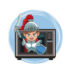 Medieval warrior videogame character cartoon on tv vector
