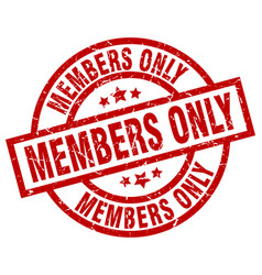 members only round red grunge stamp vector image