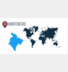 Montenegro location on the world map for vector