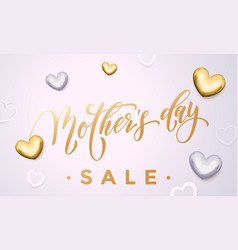 Mother day sale poster or web banner with hearts vector