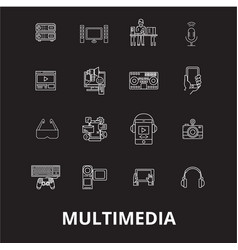 multimedia editable line icons set on black vector image