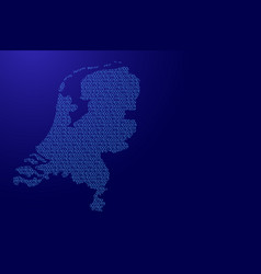 netherlands map abstract schematic from blue ones vector image