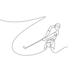 one continuous line drawing young golf player vector image