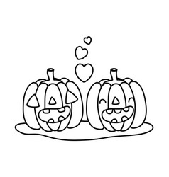 outline kawaii happy pumpkin couple with heart vector image