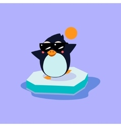 Penguin Wearing Sunglasses on the Iceberg vector
