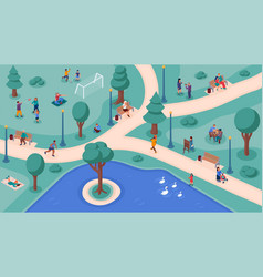 People crowd in park weekend lifestyle activity vector