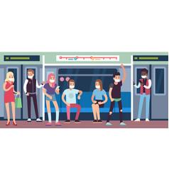 People in masks in subway underground mass vector