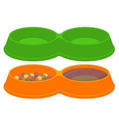 Pet food empty and full sections bowl set vector