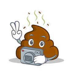 Photography poop emoticon character cartoon vector