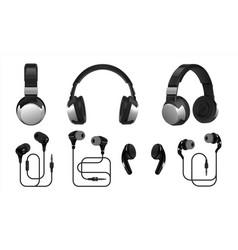 realistic headphones 3d wireless earphones and vector image