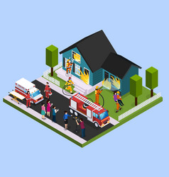 Rescue team isometric composition vector