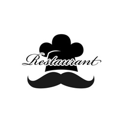 restaurant logo chef hat mustache background vector image