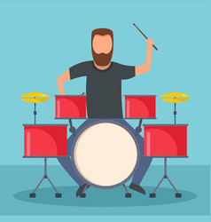 rock drummer icon flat style vector image