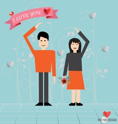 Romantic concept Couple in love making heart love vector image