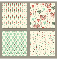 Romantic hearts seamless patterns set vector image