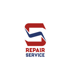 s letter icon for repair service vector image