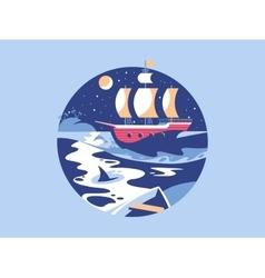 Sailing in sea vector