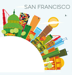 San francisco skyline with color buildings blue vector