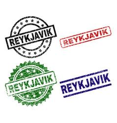 Scratched textured reykjavik seal stamps vector