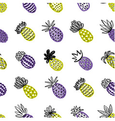 Seamless pineapple pattern handdrawn pinapple vector