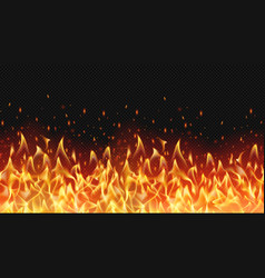seamless realistic fire border flame warm design vector image