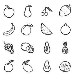 set black doodle fruits icons vector image