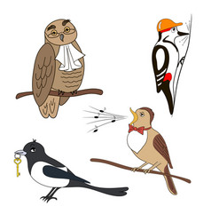 set of cartoon birds owl woodpecker nightingale vector image