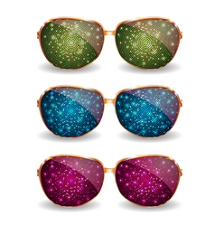 Set of disco glasses vector image