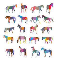 Set of mosaic colorful horses vector