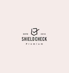 shield check logo doodle icon vector image