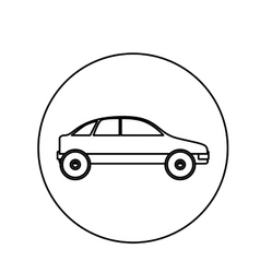 Silhouette circular shape with vehicle vector