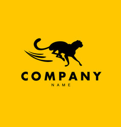 Simple abstract logo with running cheetah vector