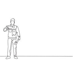 single one line drawing plumber stands vector image