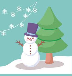 snowman with tree of christmas vector image