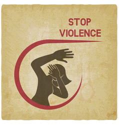 Stop violence against women poster vintage vector